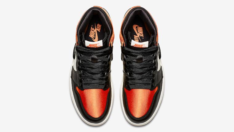 sneakers for cheap a1191 a52de Jordan 1 Satin Shattered Backboard Orange Black Womens   AV3725-010