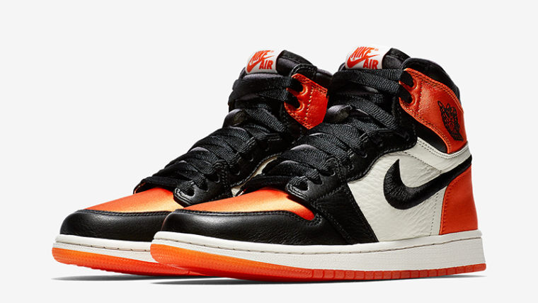 Jordan 1 Satin Shattered Backboard Orange Black Womens  6bea0316eeae