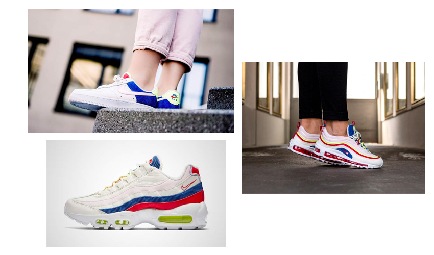 c1d7b3004d Nike's Air Force 1 Low, Air Max 97 SE, and Air Max 95 SE make up the Corduroy  Pack, all featuring a white cord interior and statement blue textile woven  ...