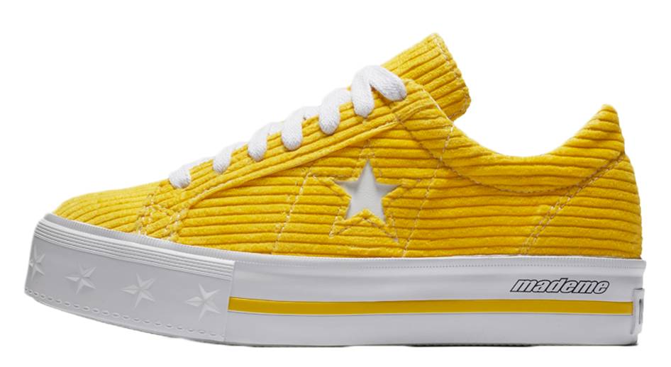 04285ab0191486 ... the release of these sneakers on May 24th to get your own bright yellow  platformed One Stars. UK true DD MM YYYY. Converse x MadeME One Star  Platform ...