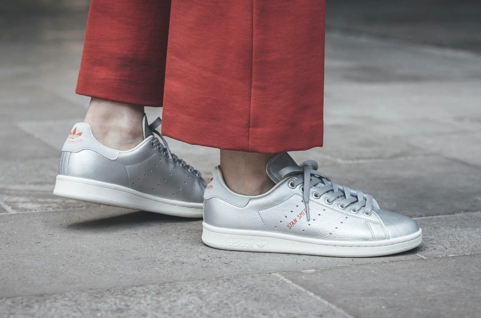 Switch Up Your Rotation With These Metallic Silver adidas Stan Smiths