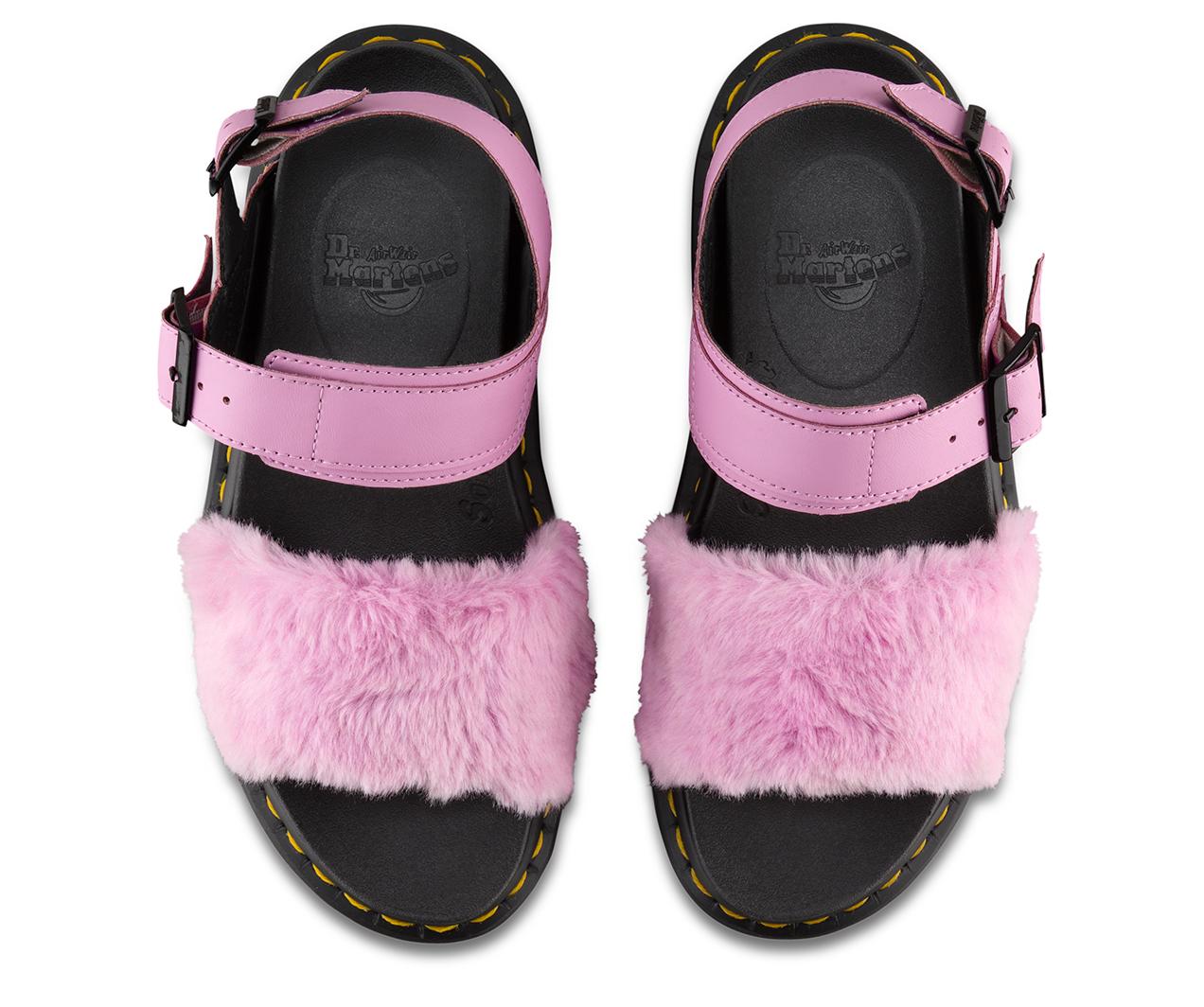 Dr Martens Zebrilus Voss Fluffy Sandals Pale Pink