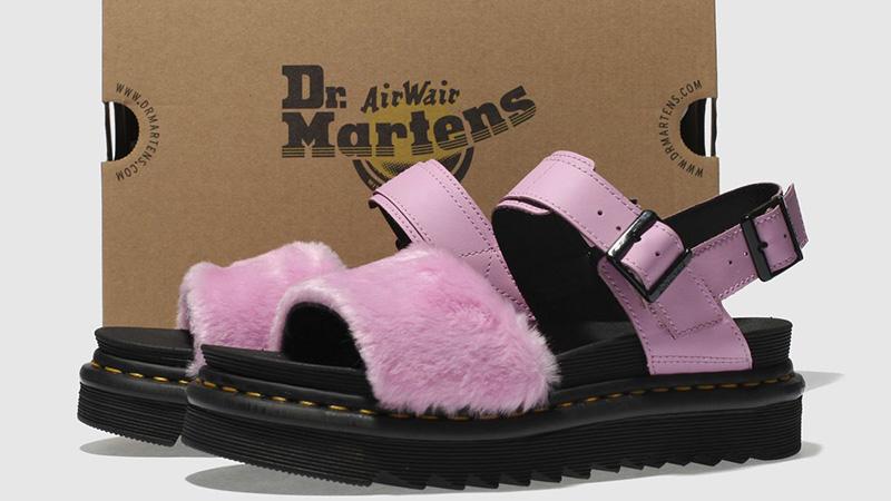 Dr Martens Zebrilus Voss Fluffy Sandals Pale Pink 04