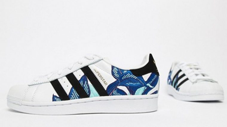 befe144002ade5 adidas Superstar Flower Embroidery White Blue | The Sole Womens