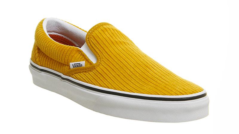 vans yellow corduroy classic slip on