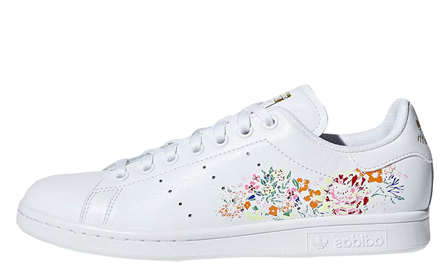 adidas Stan Smith Floral Print White Womens BC0257