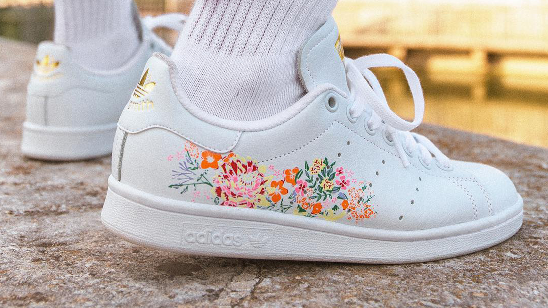 Adidas Stan Smith Floral Print White Womens Bc0257 The