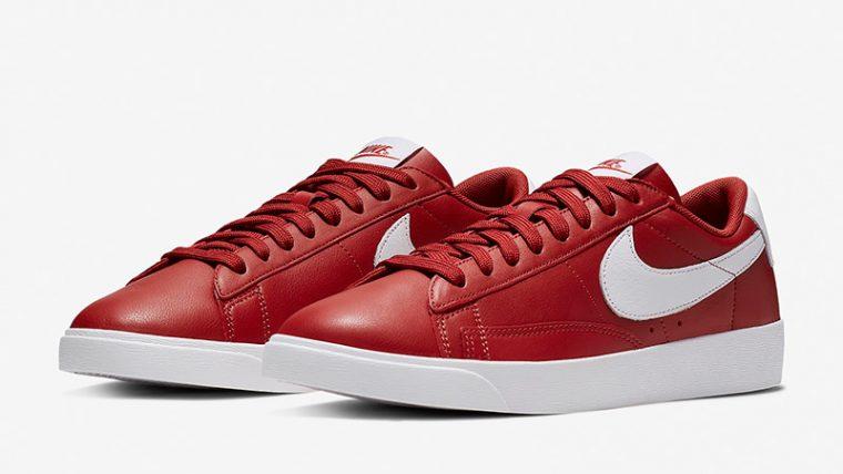 Nike Blazer Low LE Red White Womens AV9370-600 02 thumbnail image