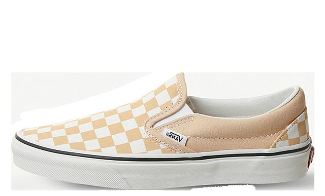 Vans Slip-on Checkerboard Print Canvas Brown White