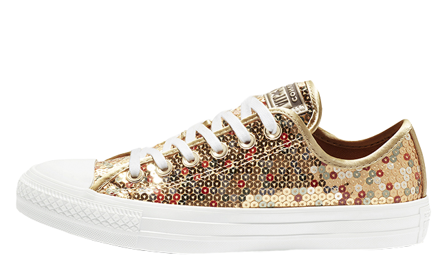 53cfe67df3d Converse Chuck Taylor All Star Holiday Scene Sequin Low Top Gold ...