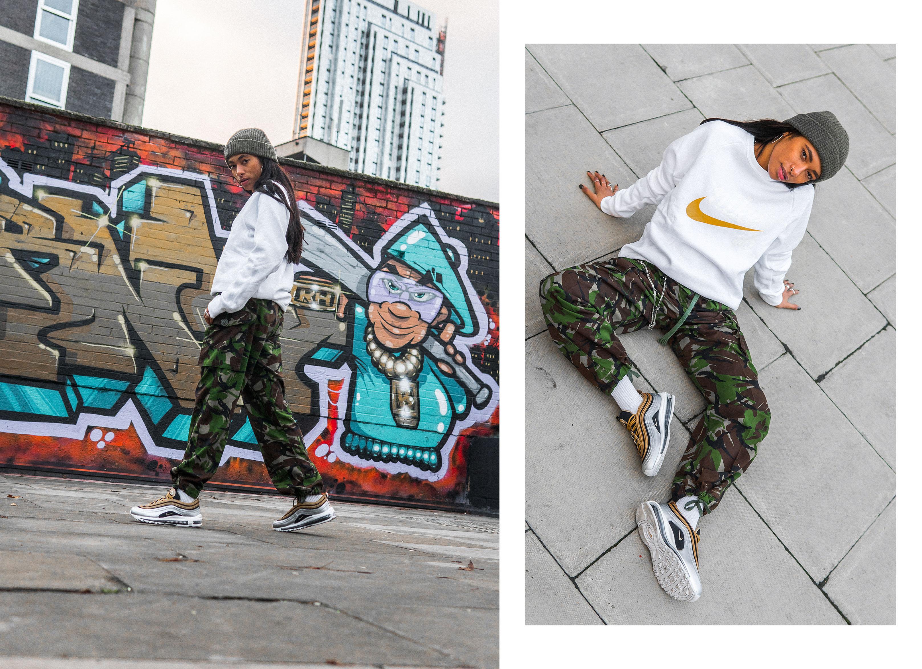 Styling: Nike Metallic Pack Air Max 97, Air Max Plus TN, Air Force 1