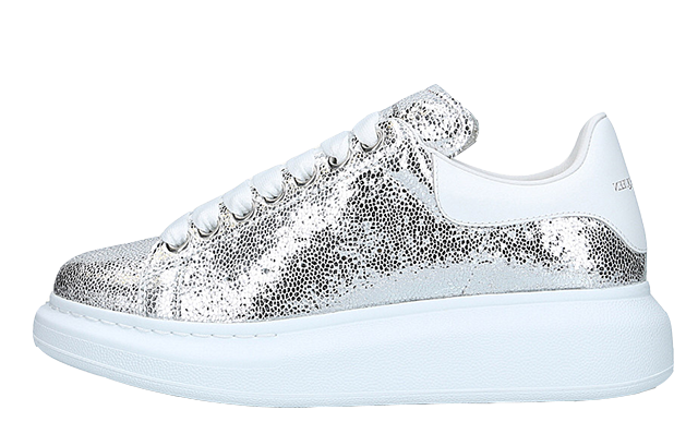 Alexander McQueen Cracked Metallic Silver