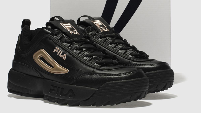 fila trainers black and gold