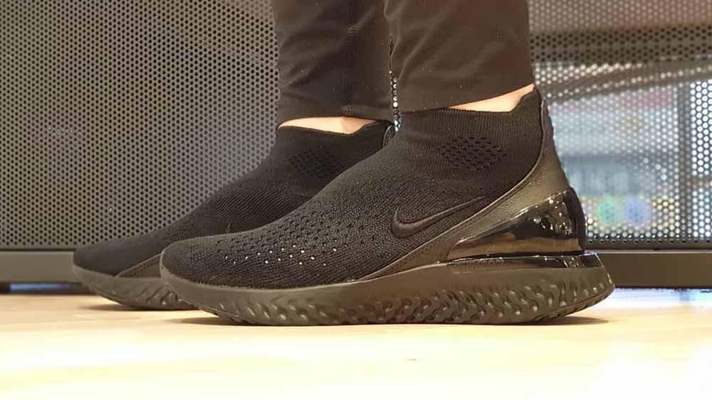 72f6ad1692647 Nike Rise React Flyknit Black