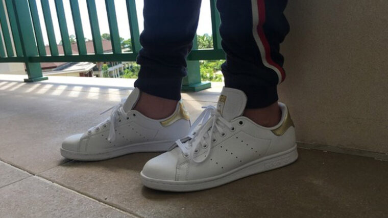 adidas Stan Smith White Gold On Foot Side thumbnail image