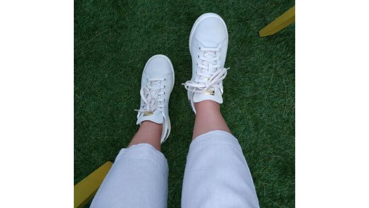 adidas Stan Smith White Gold On Foot Top 1 thumbnail image