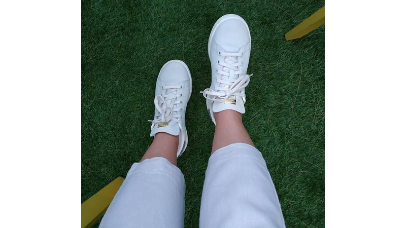 adidas Stan Smith White Gold On Foot Top 1