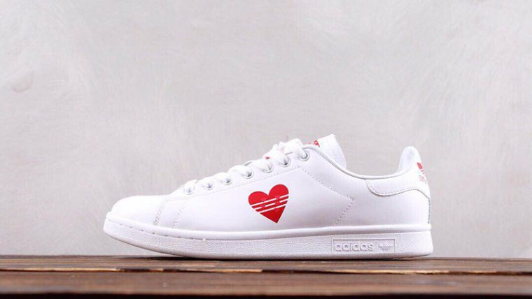stan smith shoes red heart