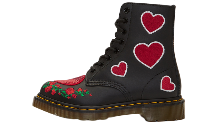 Dr Martens 1460 Pascal Hearts Boots Black