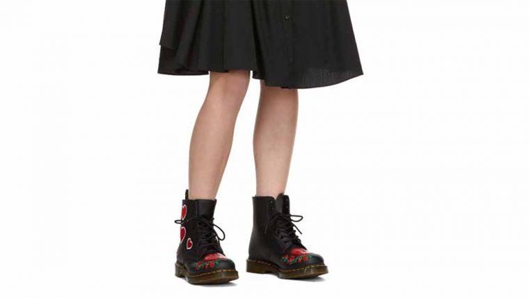Dr Martens 1460 Pascal Hearts Boots Black thumbnail image