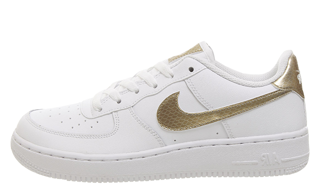 Nike Air Force 1 Trainers White Blush Gold