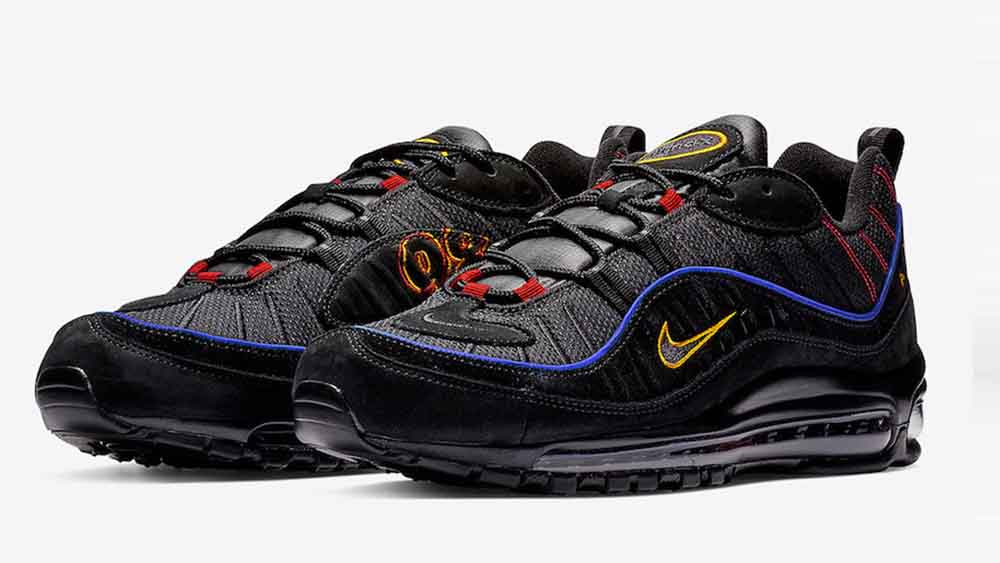2c0a32ee54 Nike Air Max 98 Black Blue | CD1537-001 | The Sole Womens