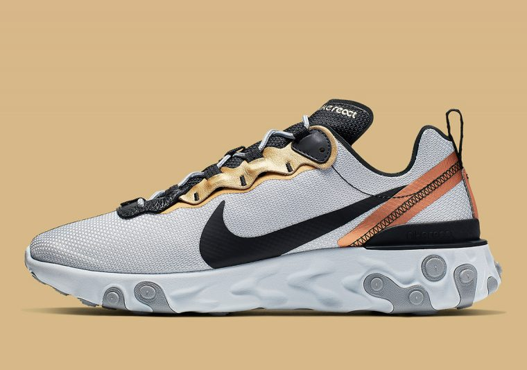 "get online 100% high quality new authentic Trend-Focussed Metallics Hit The Nike React Element 55 ""Gold ..."