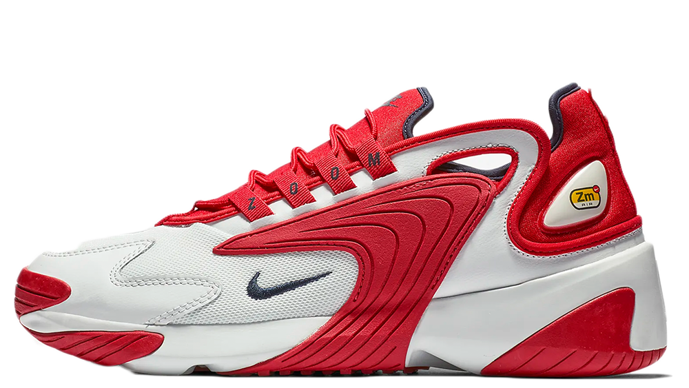 nike white red zoom 2k trainers
