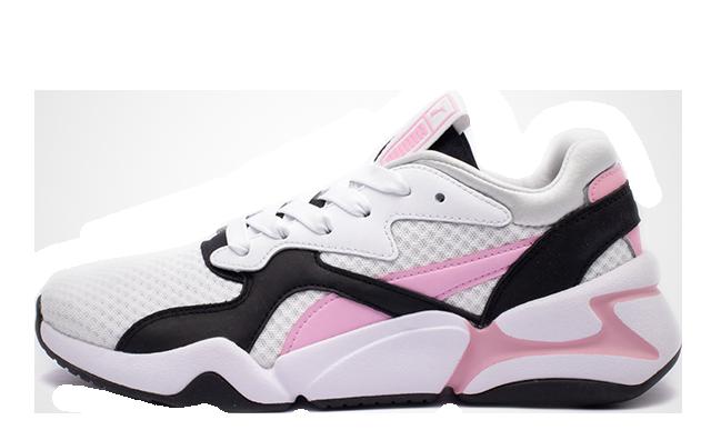 Puma Nova 90s Bloc White Pink Womens