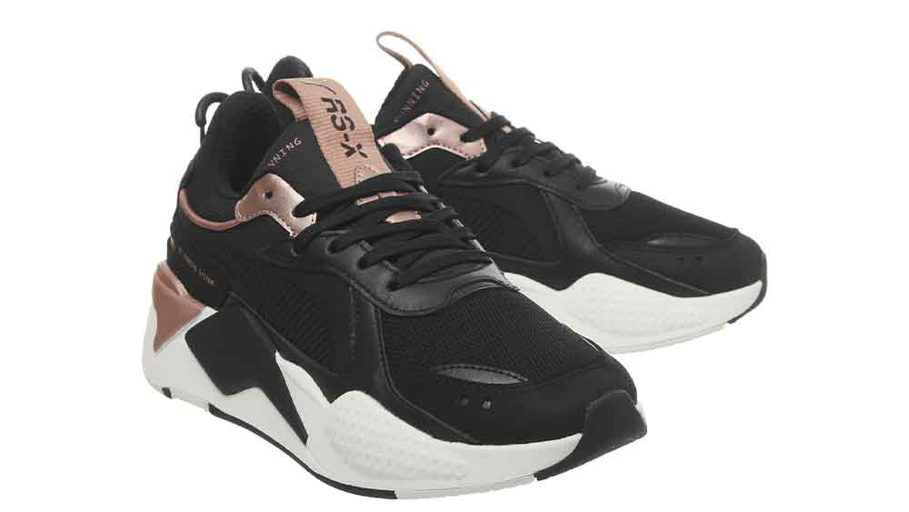 puma trainers black and gold