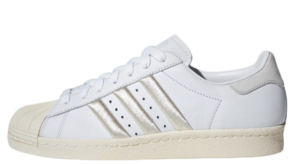 new arrival 6558b b1ed7 If you re loving the adidas Superstar 80s White Silver as much as us, hit  the stockists below to cop! UK true DD MM YYYY