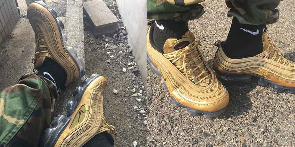 65924430846 Quick! Save £100 On The Gold Air VaporMax 97s At Offspring