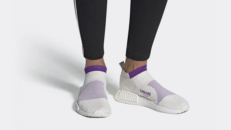 adidas NMD CS1 Primeknit White Purple CM8496 04