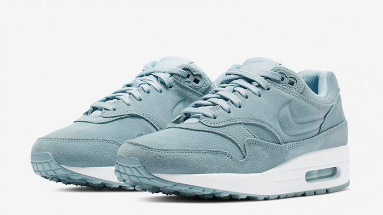 Nike Air Max 1 Turquoise Suede Womens 454746-405 front thumbnail image