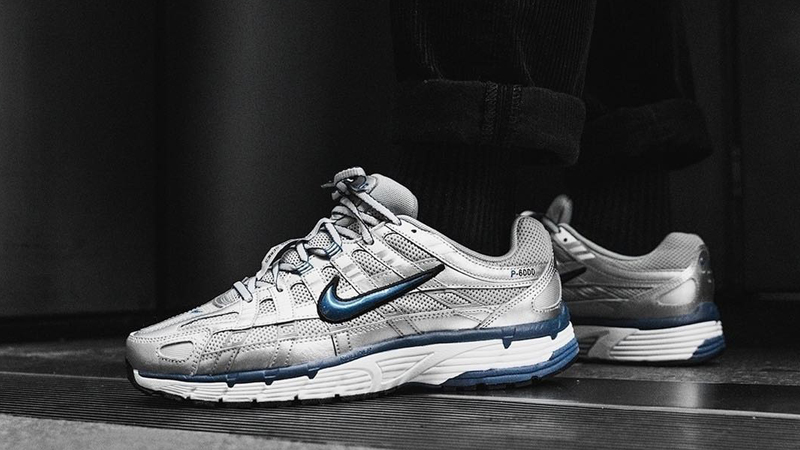 Nike P-6000 Silver Blue Womens On Foot
