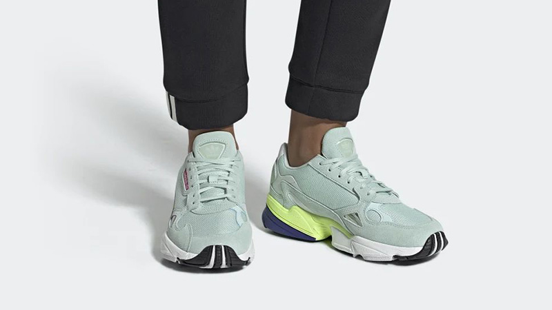 adidas Falcon Black Ice Mint CG6218 on foot