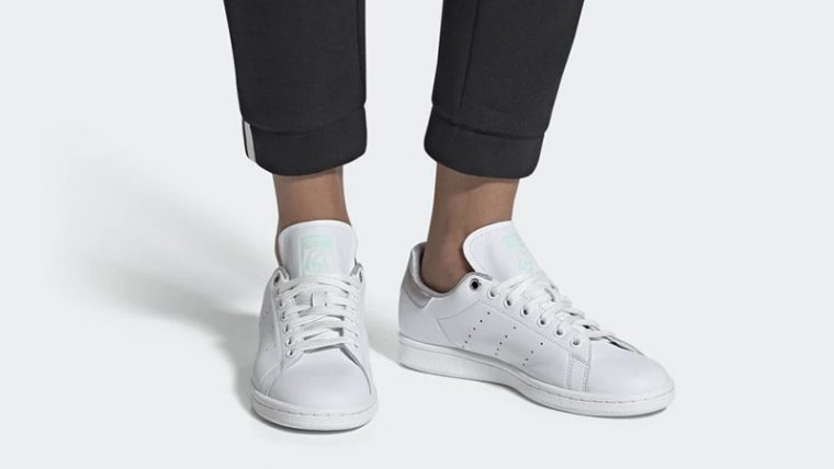adidas Stan Smith White Silver Womens G27907 on foot thumbnail image