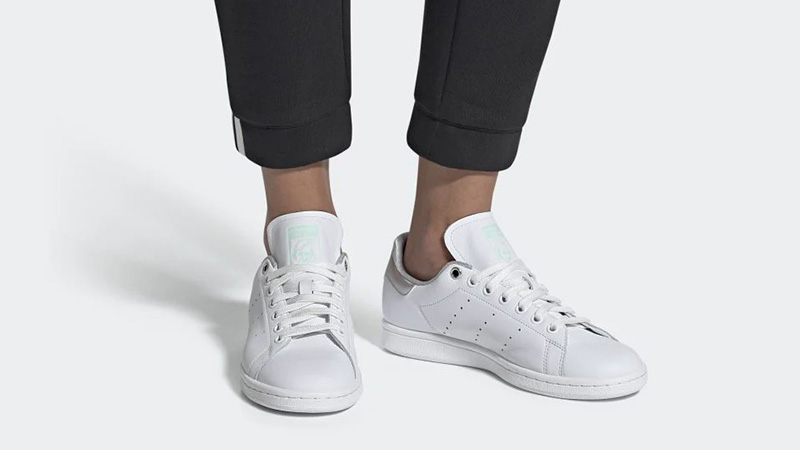 adidas Stan Smith White Silver Womens G27907 on foot
