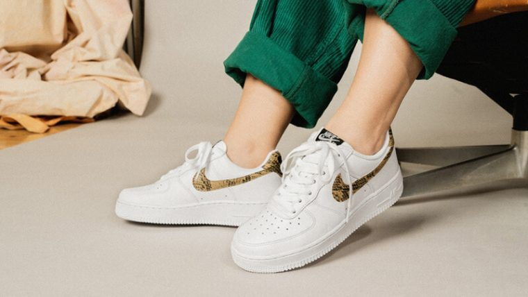 Nike Air Force 1 Low PRM Ivory Snake AO1635-100 on foot side thumbnail image