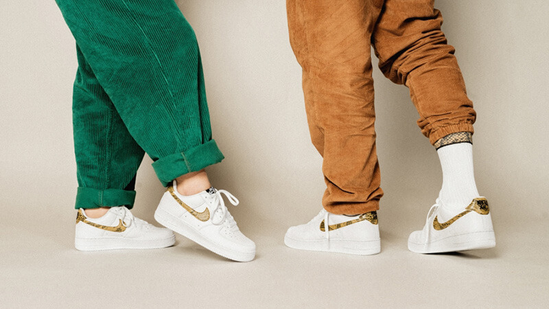 Nike Air Force 1 Low PRM Ivory Snake AO1635-100 on foot
