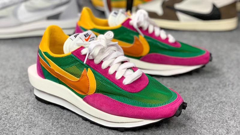sacai x Nike LDV Waffle Green Pink