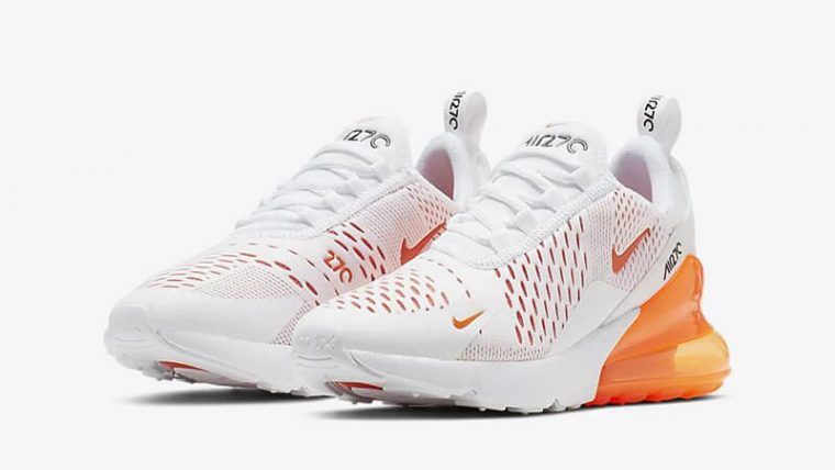 Nike Air Max 270 White Orange CJ4580-102 front thumbnail image