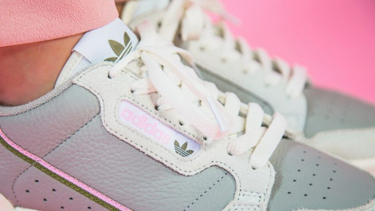 adidas Continental 80 Beige Pink EE5558 on foot side thumbnail image