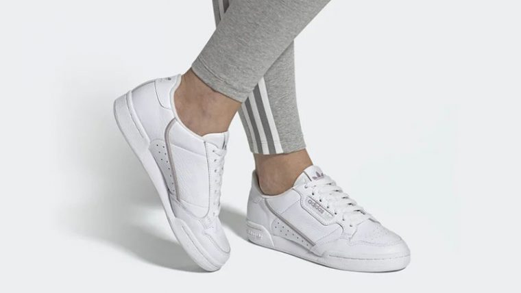 adidas Continental 80 White Purple EG8136 on foot thumbnail image