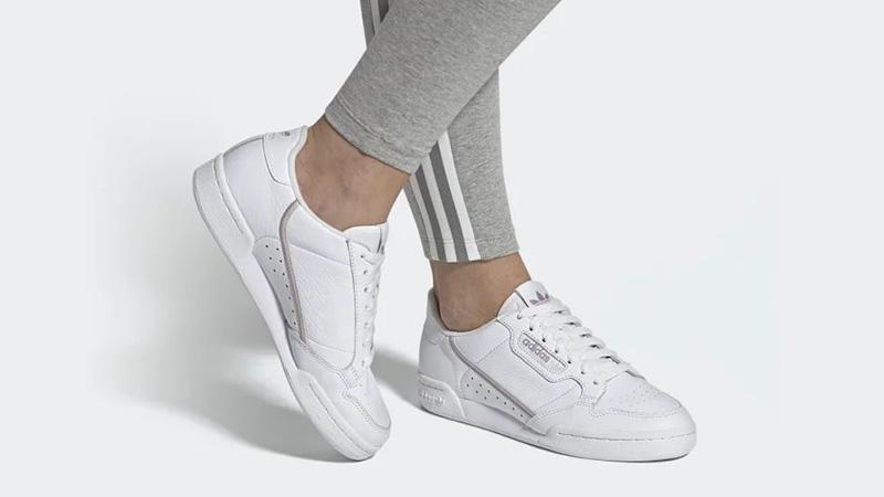 adidas Continental 80 White Purple EG8136 on foot