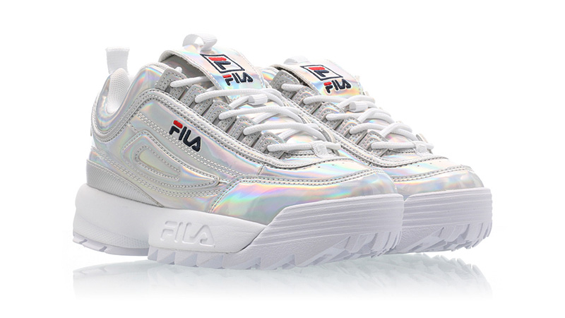 Fila Disruptor M Low Silver front