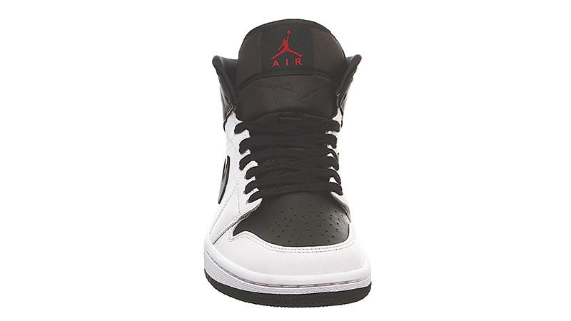 Jordan 1 Mid White Red Black front