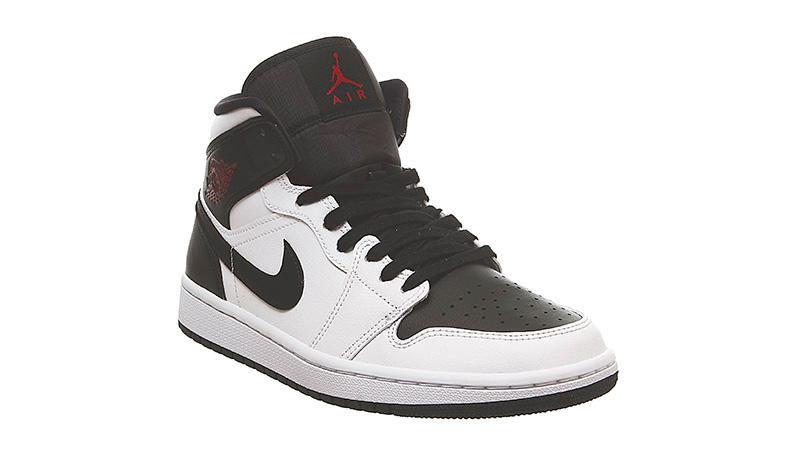 Jordan 1 Mid White Red Black side