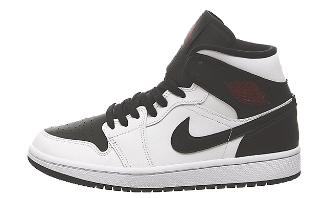 Jordan 1 Mid White Red Black
