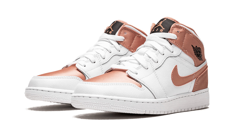 uk availability 9ef21 82d36 Jordan 1 Mid White Rose Gold GS | 555112-190